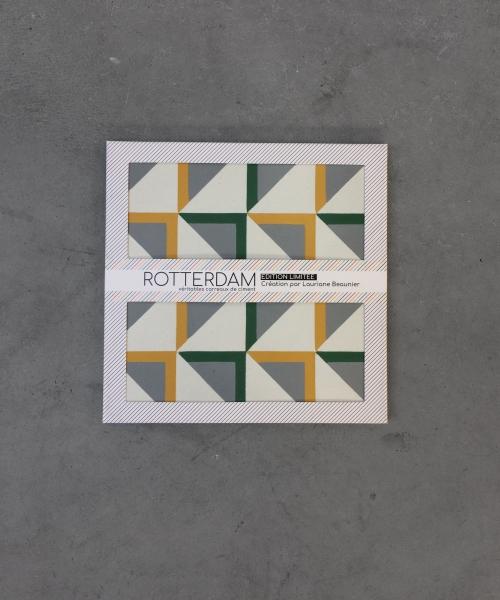 création des produits, identité et packaging de l'édition limitée Rotterdam, carreaux de ciment en vente chez Leroy Merlin
