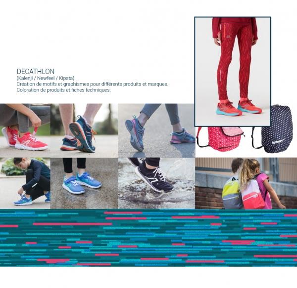 Création de motifs et élaboration de stratégie couleur pour plusieurs marques de Decathlon
