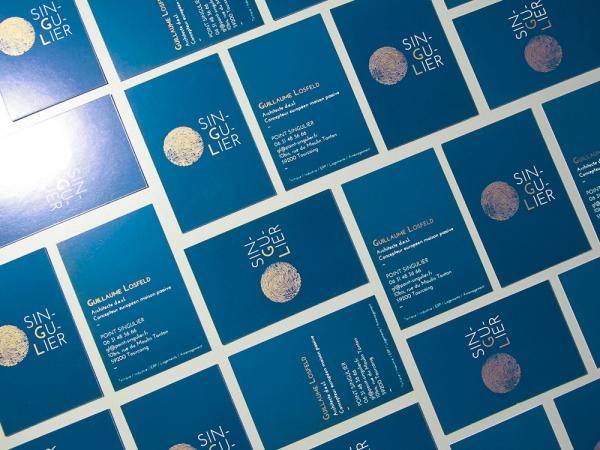 Logo et charte graphique du cabinet d'architecture Point Singulier. Impression cuivre et Pantone.