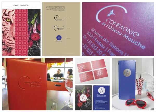 Création du logo et de la charte graphique des restaurants Le Garage et l'Alimentation en cohérence avec la création du logo de la Compagnie de l'Oiseau-Mouche