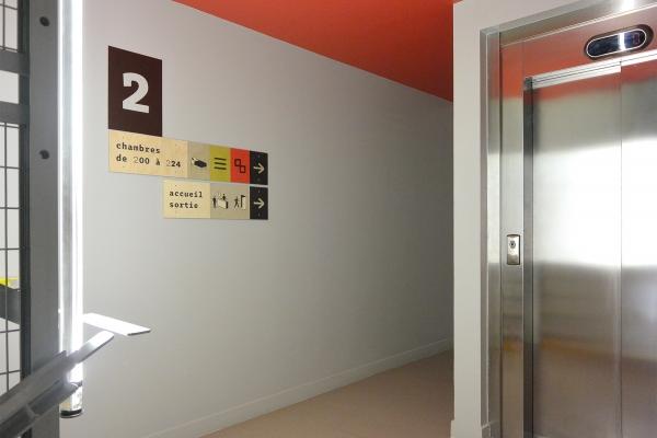 Signalétique permanente du Centre d'hébergement et de réinsertion de la Mie de Pain, Paris 13