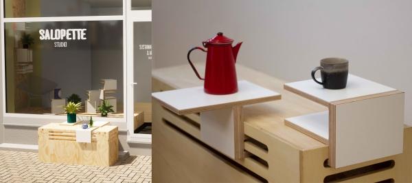 TRAIT D'UNION : design d'espace, mobilier modulable pour de afin de multiples agencements et mettre en scène des pièces uniques.