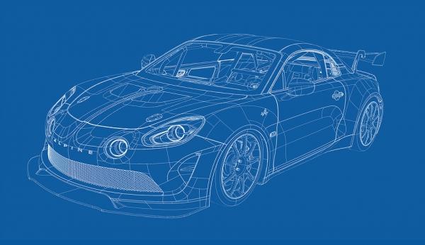 Modélisation de l'Alpine A110 GT4 en lien avec l'équipe Signatech et réalisation des Stickers compétions sur illustrator ainsi que la pose directement sur le véhicule.