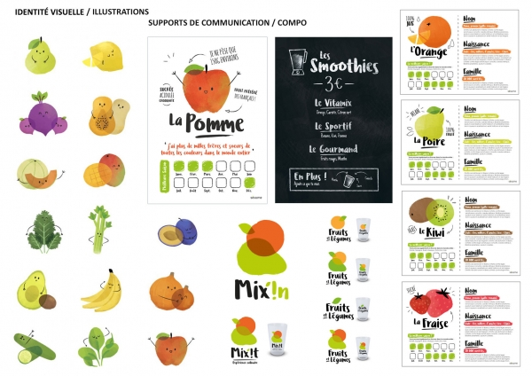 Bar/Stand à smoothie : Illustrations / Logo / Charte Graphique / Supports de communication / Composition