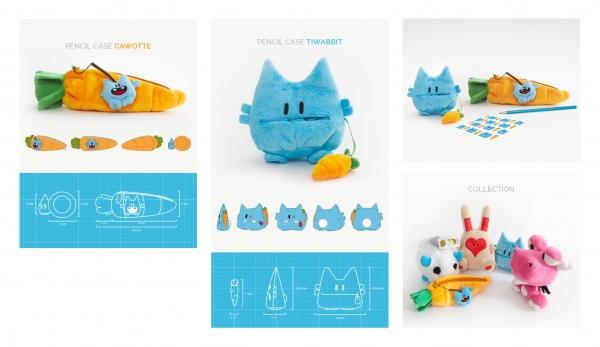 Trousse-Peluche : R&D / Concept / Design produit / Recherche matières, couleurs, formes / Fiches techniques pour fabrication / Suivi prototype
