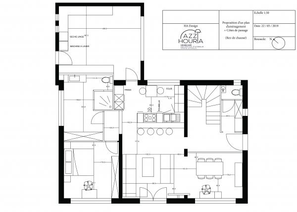 Rationaliser les espaces, moderniser l'intérieur et tirer profit de l'existant tel a été mon objectif pour l'aménagement de cette belle maison. Pour gagner en espace et en luminosité, la cloison séparant le séjour de la cuisine a été supprimée.
