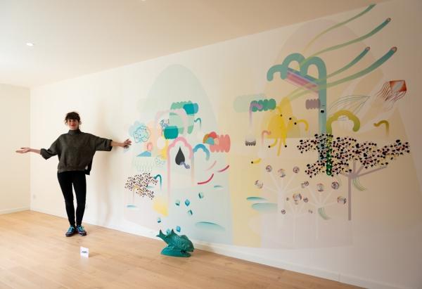 Wake up Dream, fresque murale, papier peint aquapaper,  250cm x 340cm de large. Installation au Showroom de Limonade Paper. Juin 2019