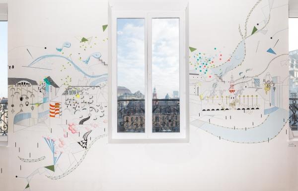 PRINT LILLE, fresque murale, 2014. Furet du Nord de Lille, 7ème étage.