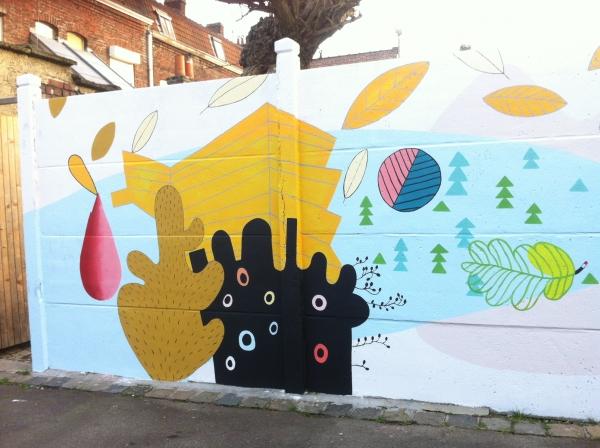 rue de TURIN à Roubaix, 2017, XU-pop up, fresque murale. Réalisation à partir d'ateliers participatifs dans le quartier Fresnoy- Mackellerie à Roubaix.