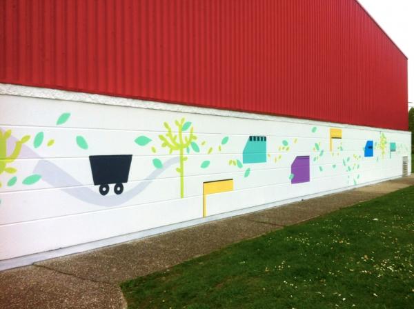 Waziers, 2017, fresque participative avec les habitants, quartier Notre Dame.