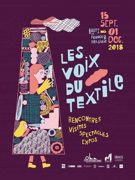 """Identité et campagne de communication de l'évènement """"Les voix du textile"""" organisé par La Manufacture de Roubaix et Proscitec."""