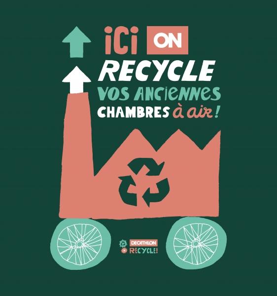 Identité de la campagne de recyclage spécifique de Decathlon ( B'Twin Innertube / Bike storage ).