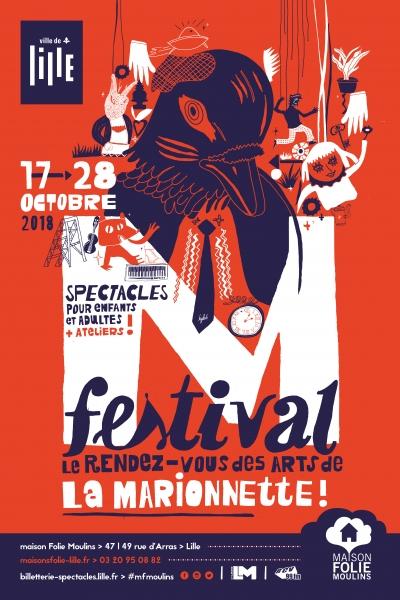Affiche, dépliant et identité visuelle du M festival organisé à la maison Folie Moulins (Lille)