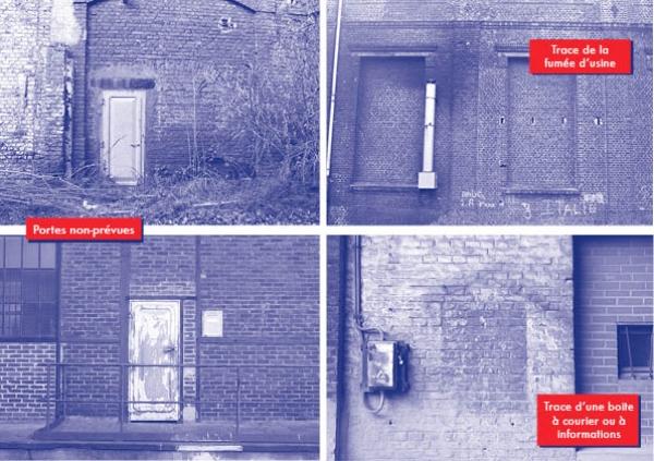 SHED / Partie I : Travail graphique autour d'une friche industrielle à partir de son histoire et de son interprétation sensible. Création d'un poster regroupant des prises de vues et l'apposition d'annotations fictives et réelles concernant ce lieu.