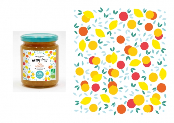 Réalisation de la gamme packaging Happy Fruit pour Naturalia