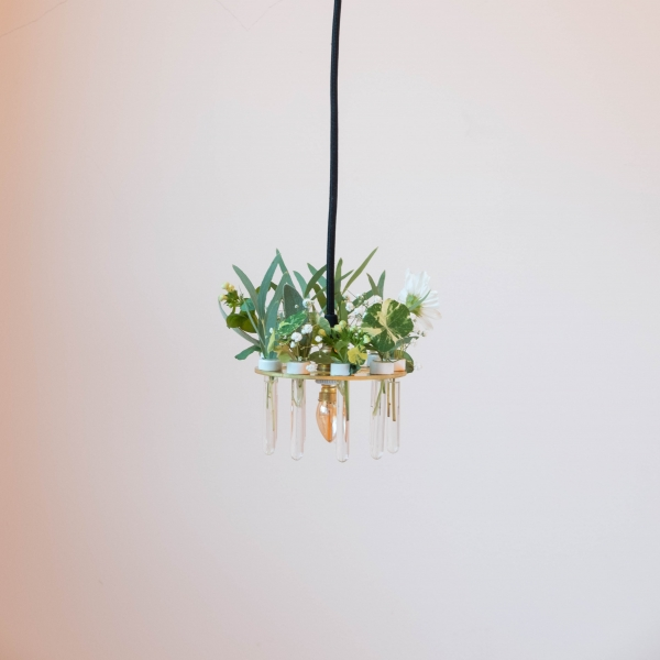 This object is a lamps composed of a thick, laser-cut brass plate holding nine glass test tubes resting on ceramic fittings. The test tubes function as miniature flower vases that can be decorated with seasonal flowers, small plants or herbs. My motivatio