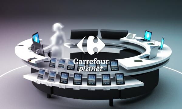 CARREFOUR PLANET, Univers Media - Création du mobilier & de la signalétique, APS et suivi de fabrication.