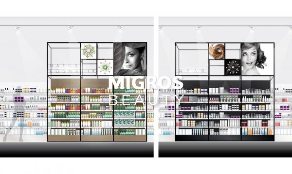 MIGROS (Suisse), Univers Beauté - Création du mobilier & de la signalétique, APS et suivi de fabrication.