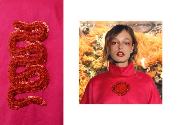 Collection « Fleur de la Liberté » travail textile graphique, orné de broderies à la main alternant les textures mates et brillantes. Le serpent et la fleur comme symboles forts de la collection , tout en dualité expriment d'un côté l'insouciance liée à l