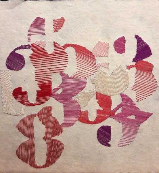Dessin brodé à la main au fil de soie sur papier