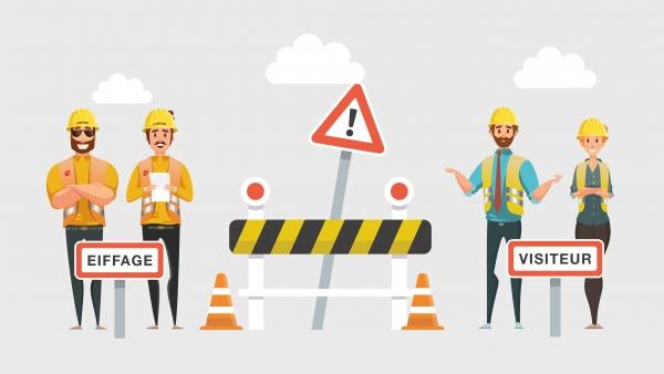 Motion design réalisé pour la mise en valeur d'une application facilitant l'accès aux entreprises sur les chantiers du groupe EIFFAGE.