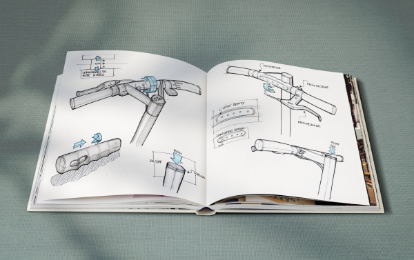 Recherches formelles et ergonomiques pour des guidons de trottinette électrique.