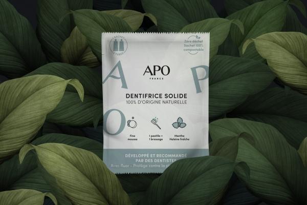 Conception de packaging pour APO, une marque de cosmétique bio locale.