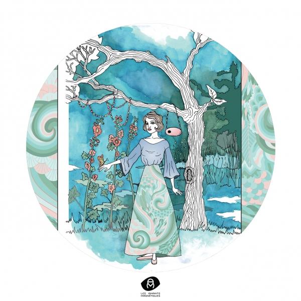 Christelle Cellier, création d'une illustration de mode et d'un motif dans un décor paysage.